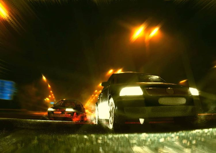Car chase action scene